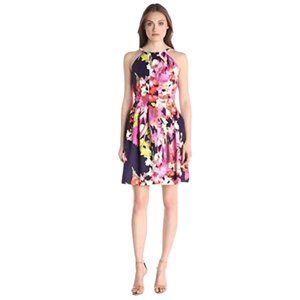Vince Camuto Blue Floral Seamed Scuba Dress Size 6